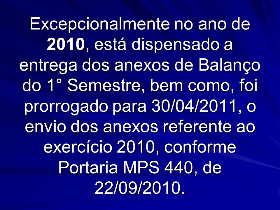 Excepcionalmente no ano de 2010, está dispensado a entrega dos anexos de Balanço do 1° Semestre, bem como, foi prorrogado para 30/04/2011, o envio dos