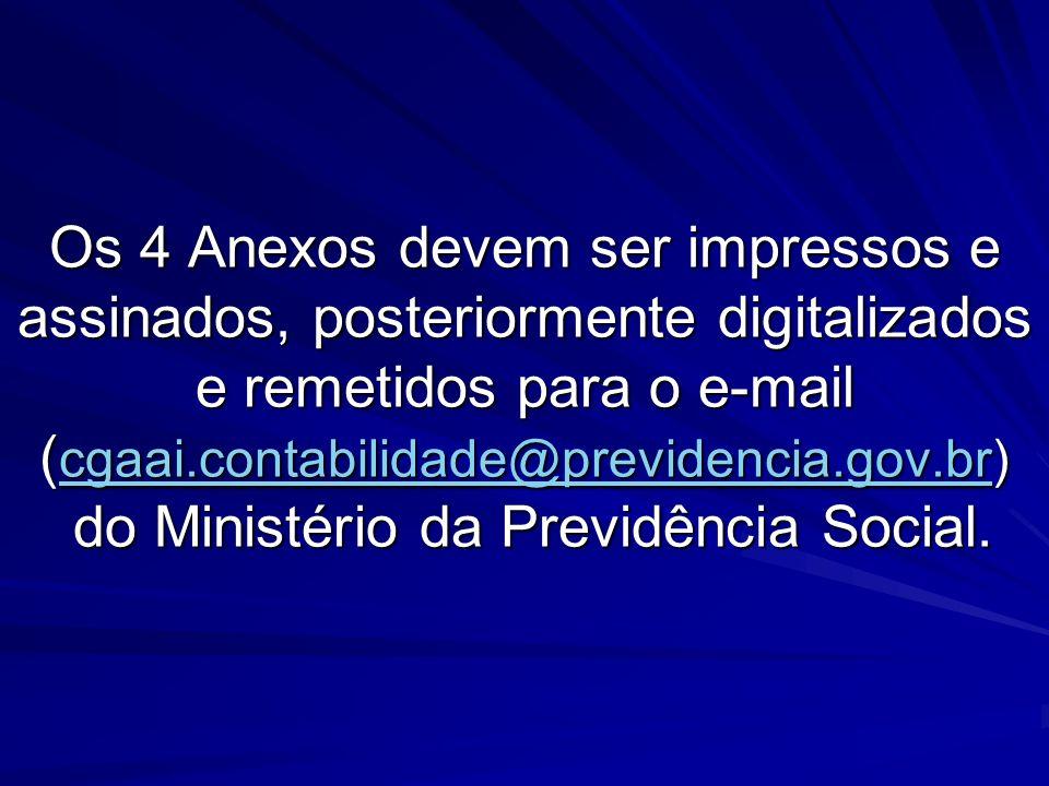 Os 4 Anexos devem ser impressos e assinados, posteriormente digitalizados e remetidos para o e-mail ( cgaai.contabilidade@previdencia.gov.br) do Minis