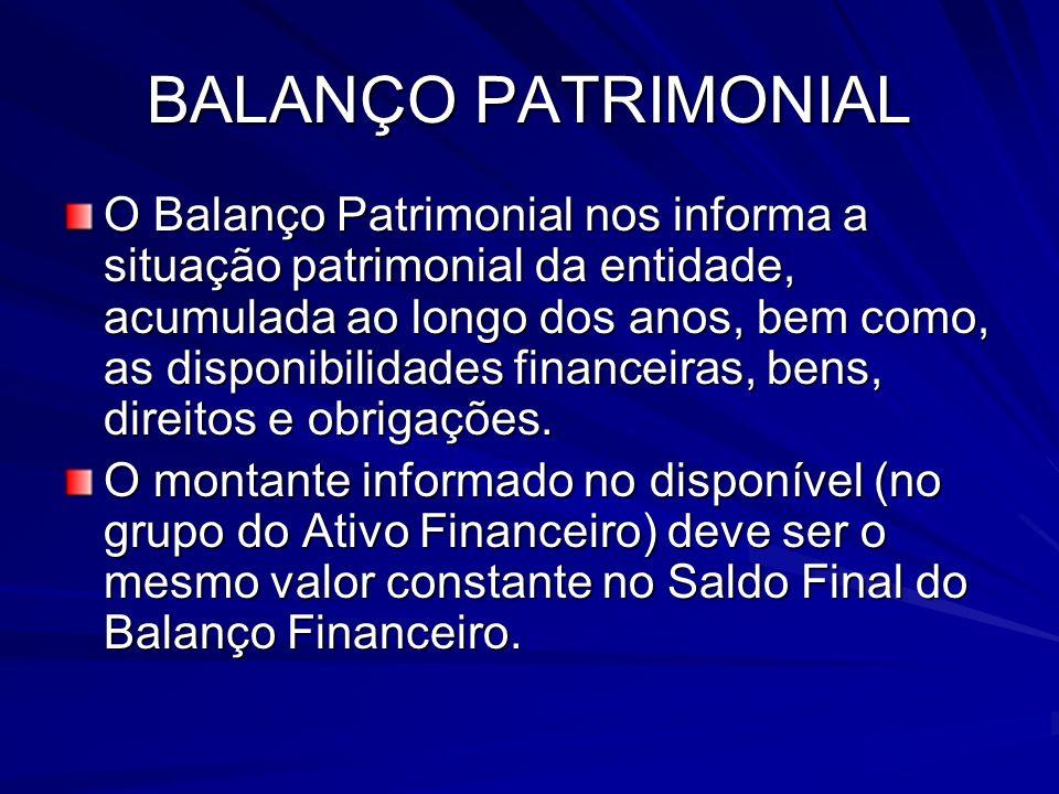 BALANÇO PATRIMONIAL O Balanço Patrimonial nos informa a situação patrimonial da entidade, acumulada ao longo dos anos, bem como, as disponibilidades f