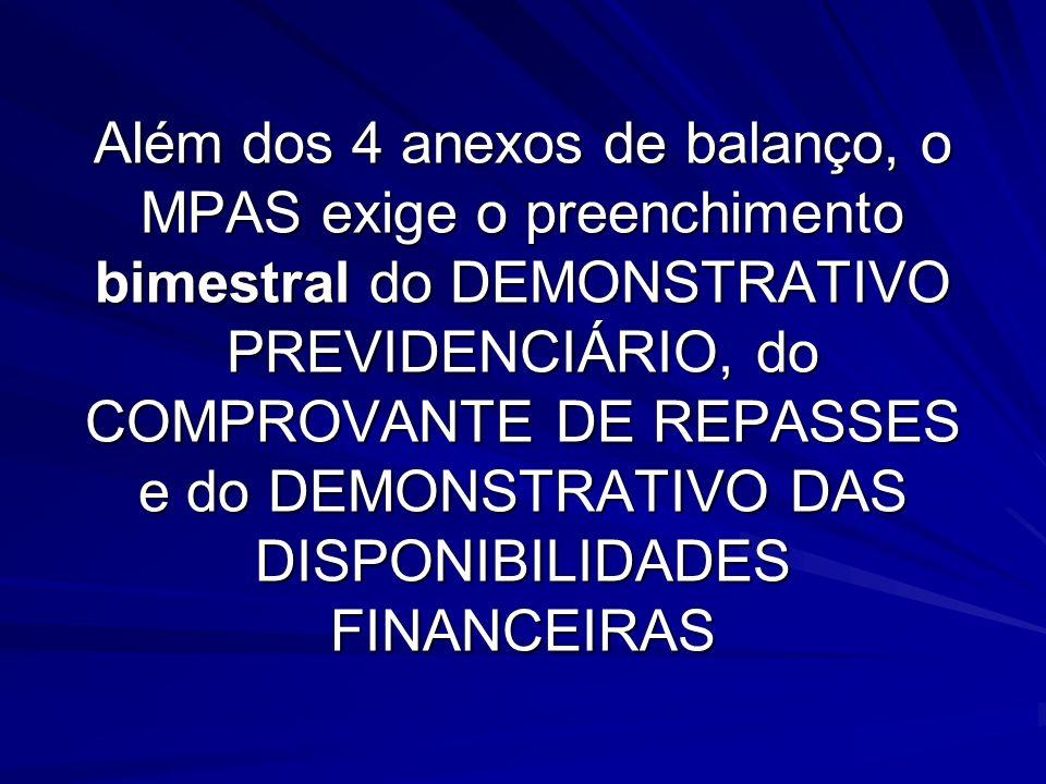 Além dos 4 anexos de balanço, o MPAS exige o preenchimento bimestral do DEMONSTRATIVO PREVIDENCIÁRIO, do COMPROVANTE DE REPASSES e do DEMONSTRATIVO DA