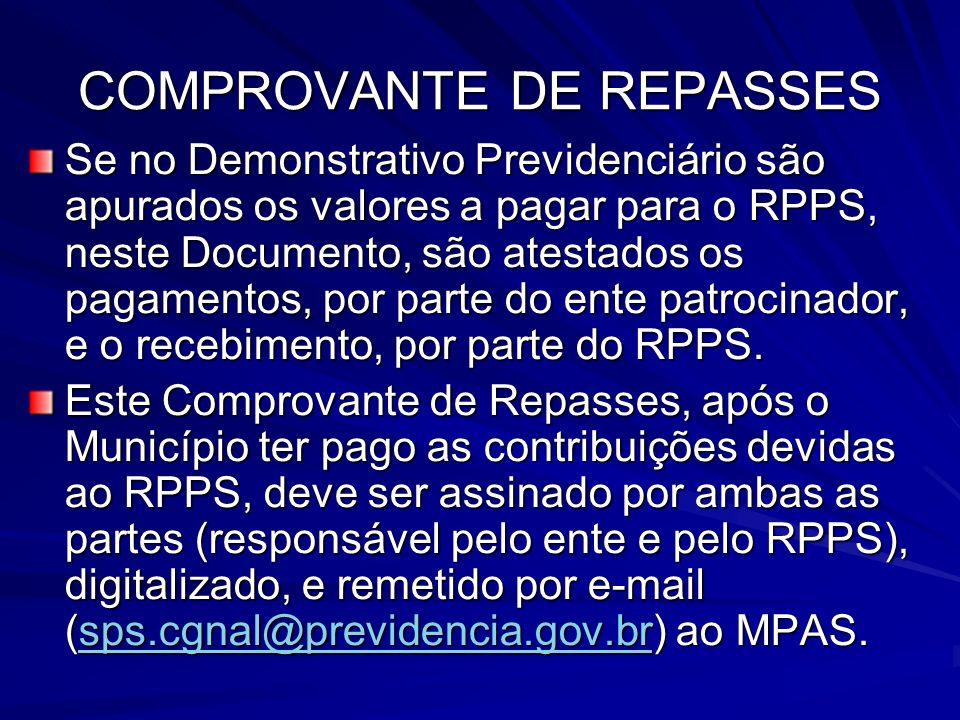 COMPROVANTE DE REPASSES Se no Demonstrativo Previdenciário são apurados os valores a pagar para o RPPS, neste Documento, são atestados os pagamentos,