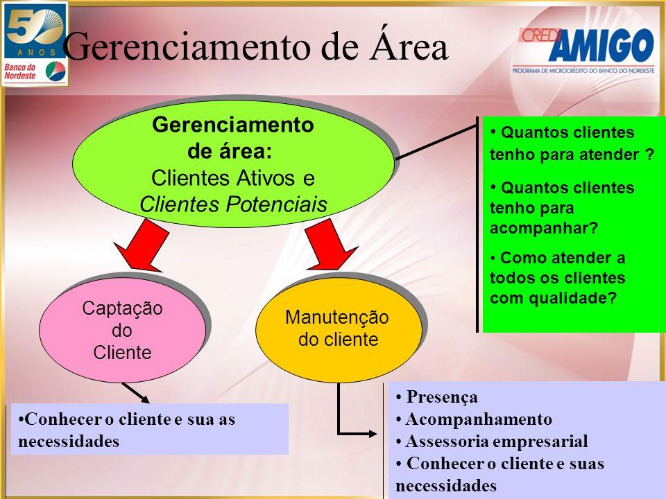 Captação do Cliente Captação do Cliente Manutenção do cliente Manutenção do cliente Gerenciamento de área: Clientes Ativos e Clientes Potenciais Geren