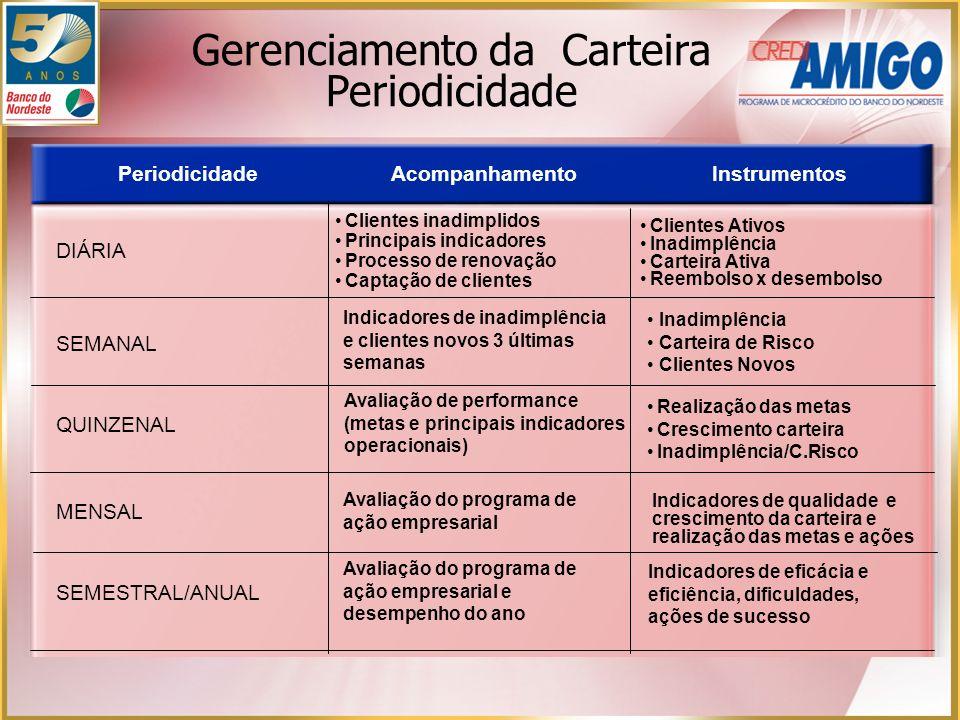 PeriodicidadeAcompanhamentoInstrumentos DIÁRIA Clientes inadimplidos Principais indicadores Processo de renovação Captação de clientes Clientes Ativos