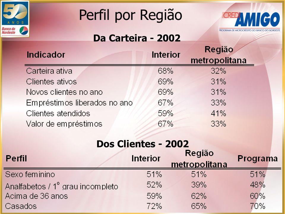 Perfil por Região Da Carteira - 2002 Dos Clientes - 2002