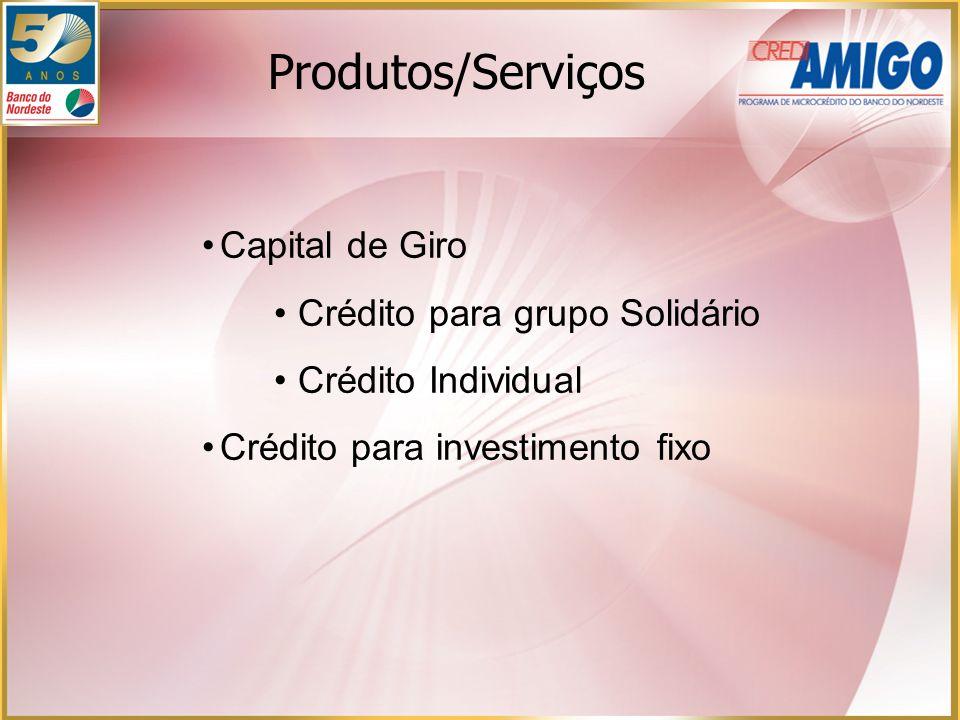 Capital de Giro Crédito para grupo Solidário Crédito Individual Crédito para investimento fixo Produtos/Serviços