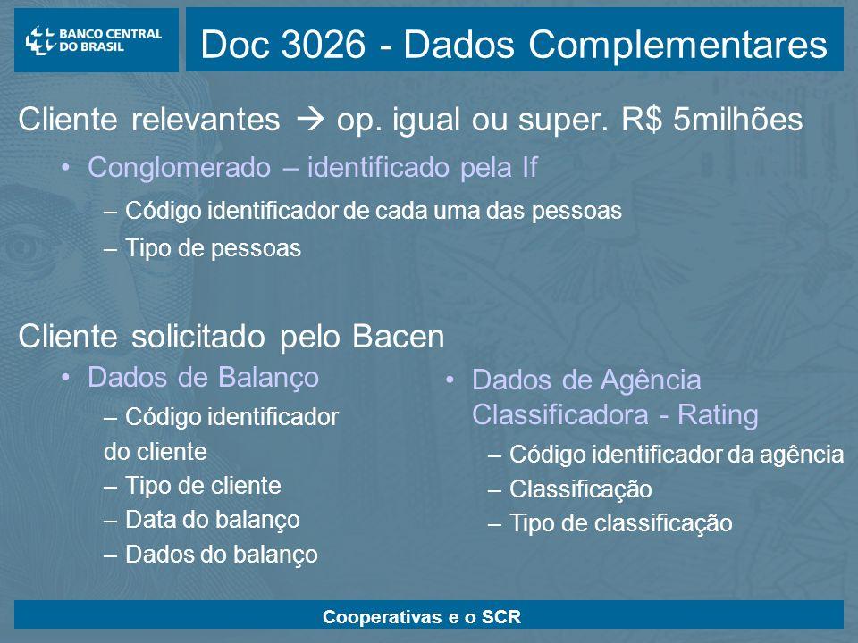 Cooperativas e o SCR Doc 3026 - Dados Complementares Cliente relevantes op. igual ou super. R$ 5milhões Conglomerado – identificado pela If –Código id