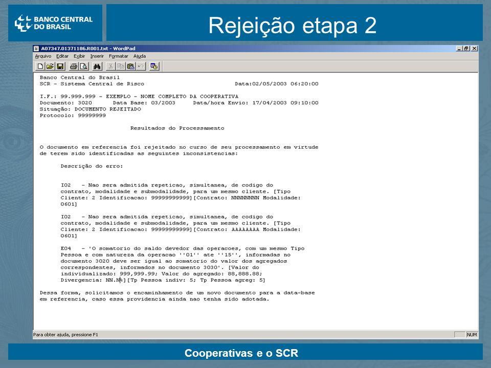 Cooperativas e o SCR Rejeição etapa 2