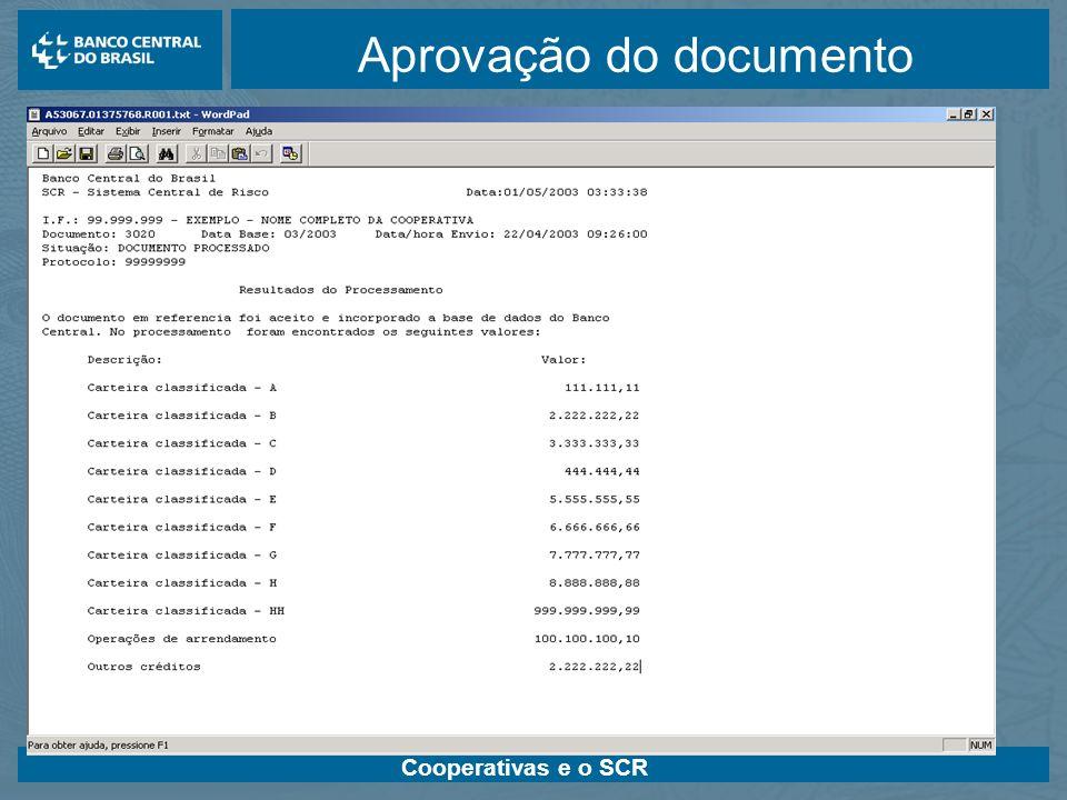 Cooperativas e o SCR Aprovação do documento