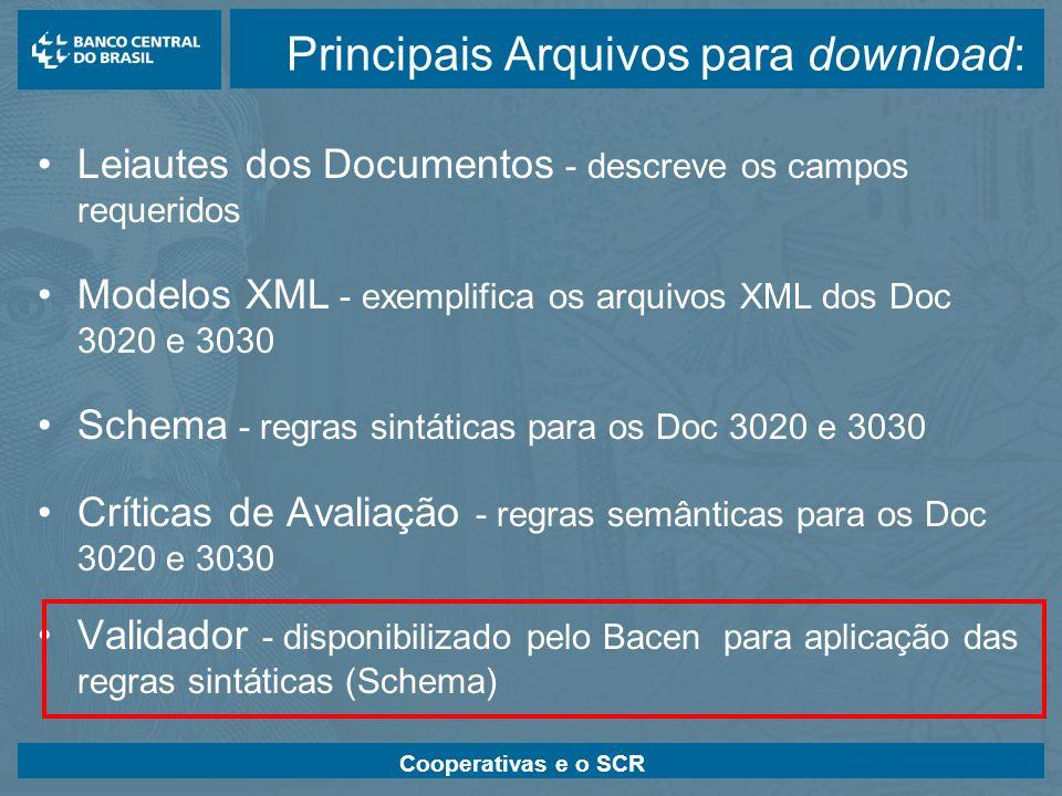Cooperativas e o SCR Principais Arquivos para download: Leiautes dos Documentos - descreve os campos requeridos Modelos XML - exemplifica os arquivos