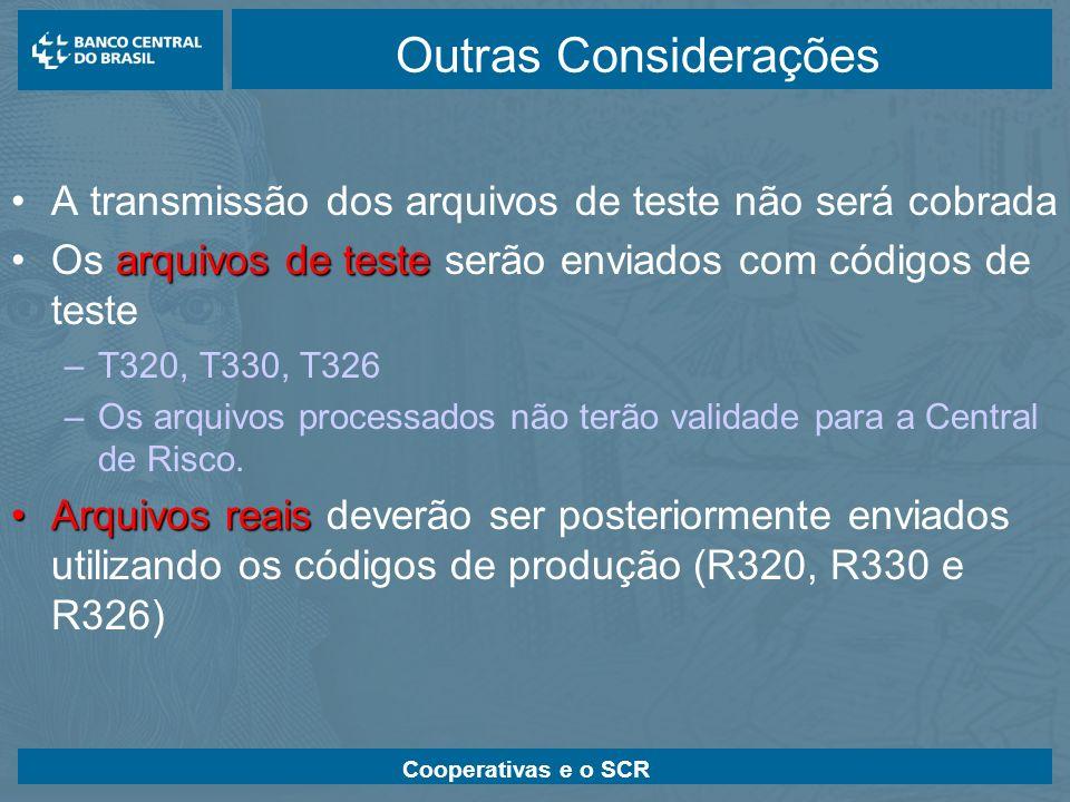 Cooperativas e o SCR Outras Considerações A transmissão dos arquivos de teste não será cobrada arquivos de testeOs arquivos de teste serão enviados co
