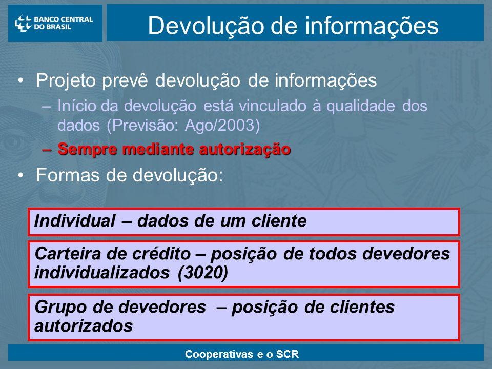 Cooperativas e o SCR Devolução de informações Projeto prevê devolução de informações –Início da devolução está vinculado à qualidade dos dados (Previs