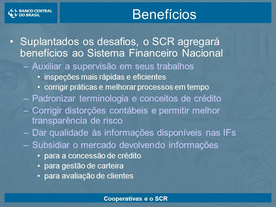 Cooperativas e o SCR Benefícios Suplantados os desafios, o SCR agregará benefícios ao Sistema Financeiro Nacional –Auxiliar a supervisão em seus traba