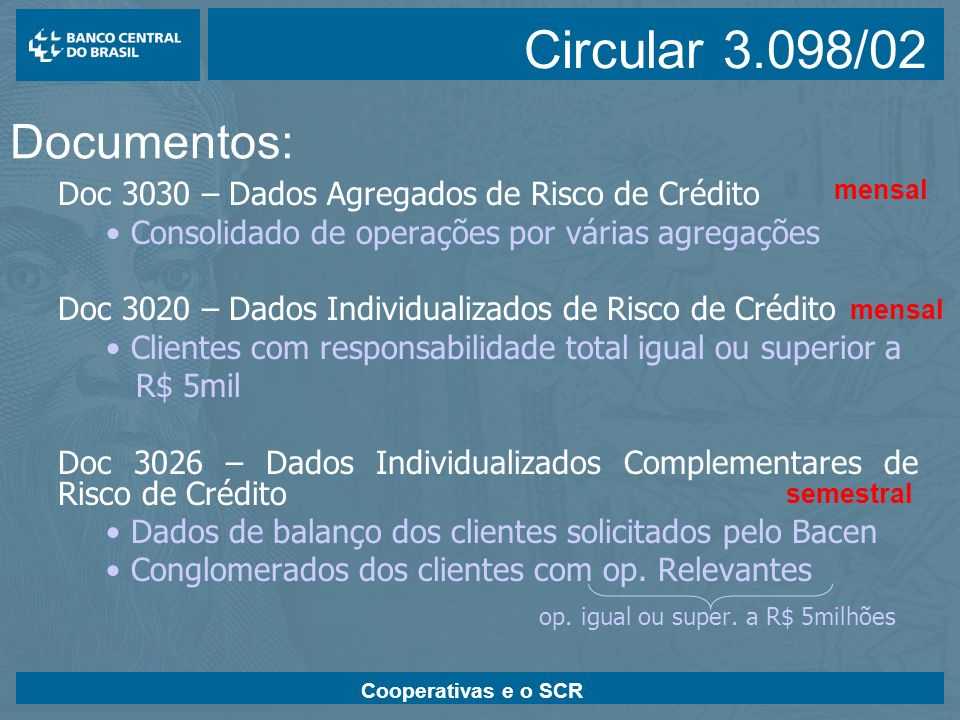 Cooperativas e o SCR –Validação Semântica - verificação da consistência das informações –Aferição da compatibilidade interna dos dados; –Documento 3030 x Cosif, Cadoc 4010; –Documento 3020 x documento 3030.