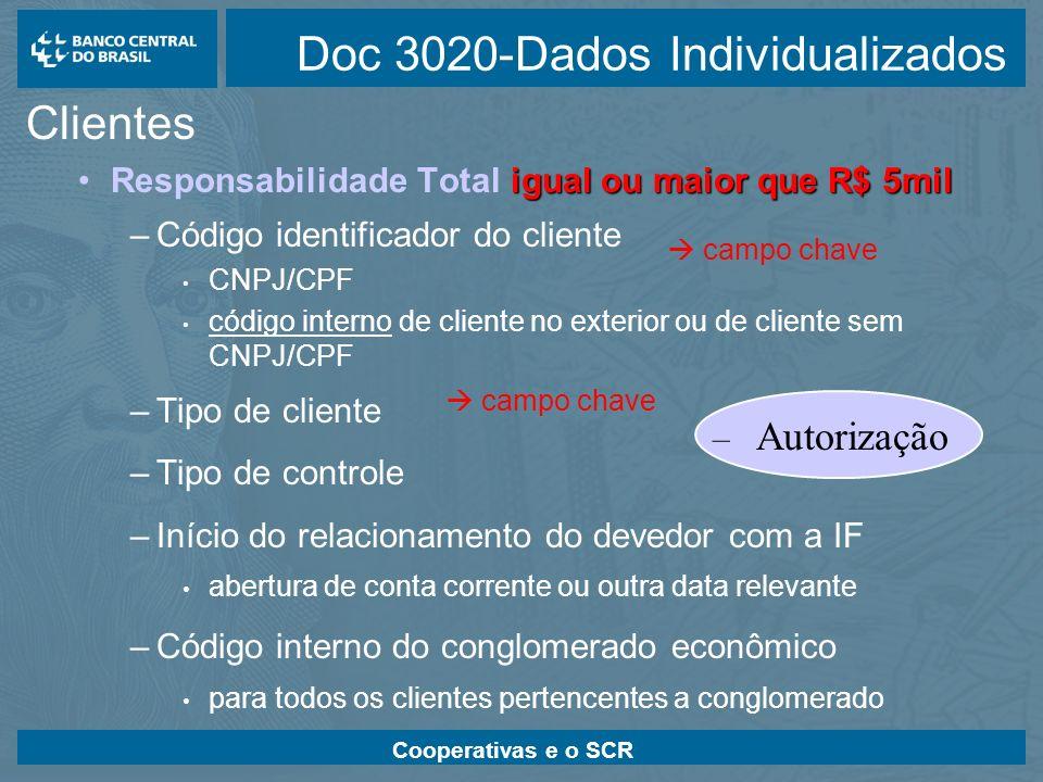 Cooperativas e o SCR Doc 3020-Dados Individualizados Clientes igual ou maior que R$ 5milResponsabilidade Total igual ou maior que R$ 5mil –Código iden