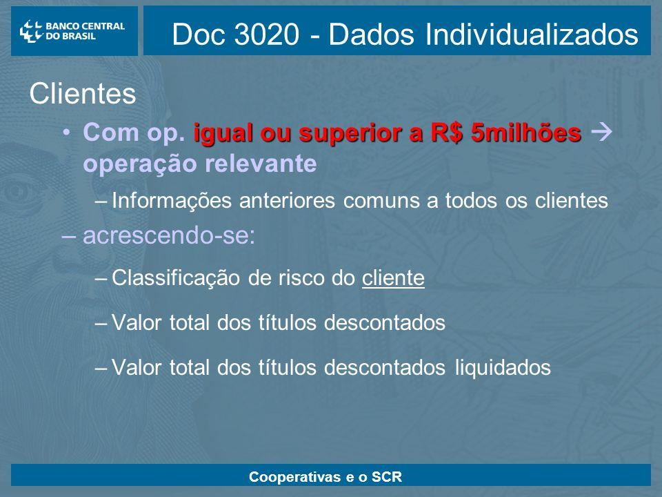 Cooperativas e o SCR Doc 3020 - Dados Individualizados Clientes igual ou superior a R$ 5milhõesCom op. igual ou superior a R$ 5milhões operação releva