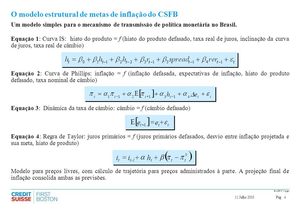 Pág411 Julho 2003 BACEN3711p.ppt Um modelo simples para o mecanismo de transmissão de política monetária no Brasil. Equação 1: Curva IS: hiato do prod