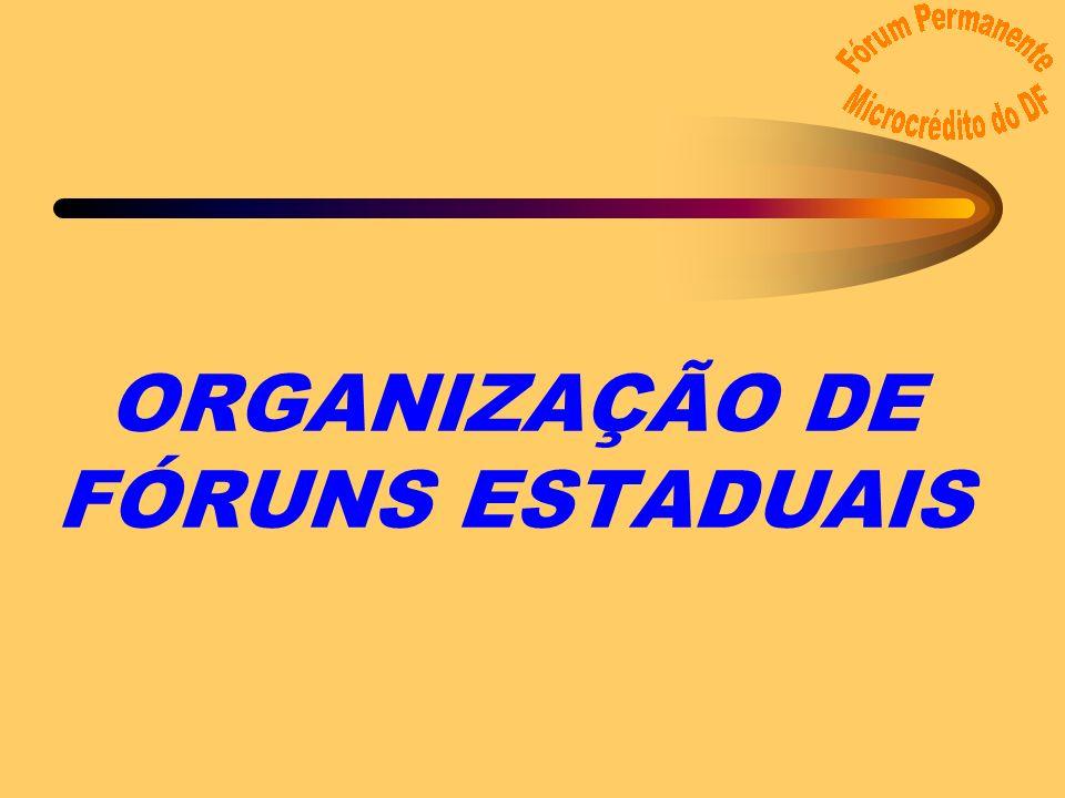 ORGANIZAÇÃO DE FÓRUNS ESTADUAIS