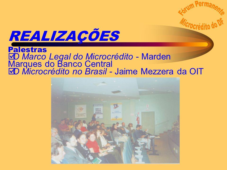 REALIZAÇÕES Palestras þO Marco Legal do Microcrédito - Marden Marques do Banco Central þO Microcrédito no Brasil - Jaime Mezzera da OIT