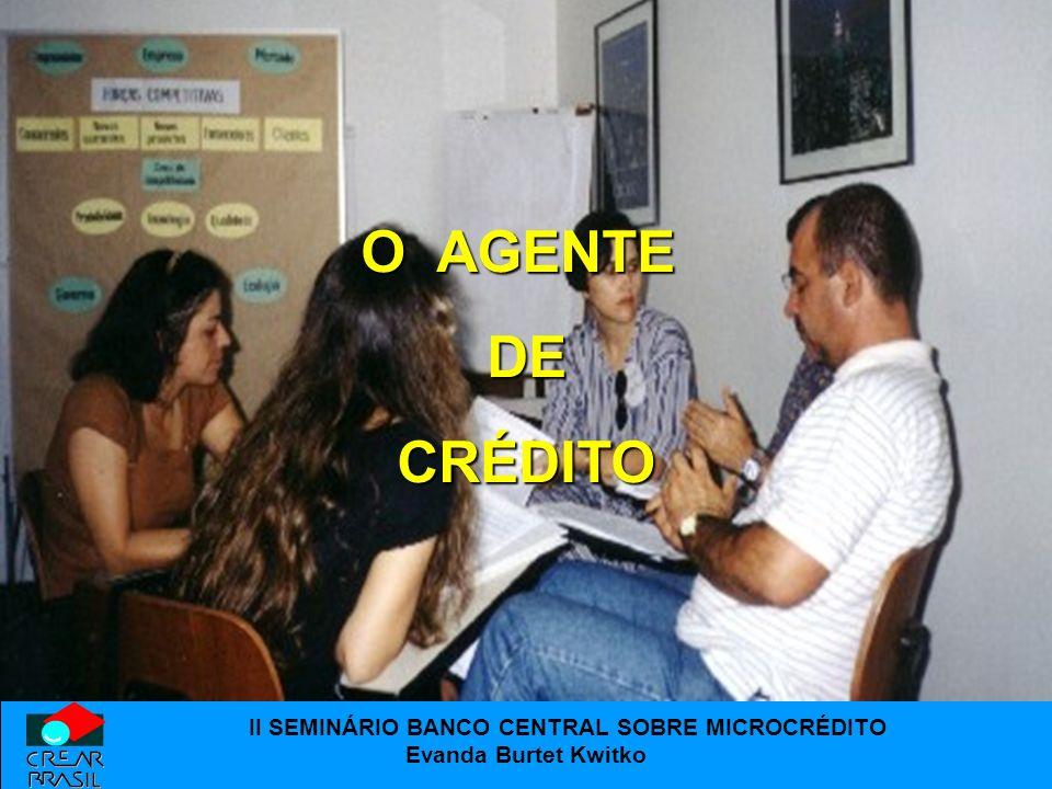 II SEMINÁRIO BANCO CENTRAL SOBRE MICROCRÉDITO Evanda Burtet Kwitko O AGENTE DE DE CRÉDITO CRÉDITO