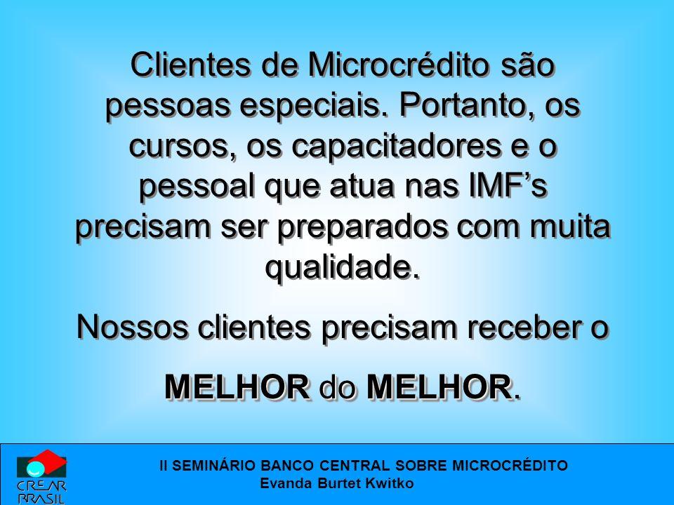 II SEMINÁRIO BANCO CENTRAL SOBRE MICROCRÉDITO Evanda Burtet Kwitko Avaliação pelas Instituições/Programas da Metodologia BNDES/CREAR Brasil Avaliação pelas Instituições/Programas da Metodologia BNDES/CREAR Brasil Aspectos de desempenho da equipe que possam ser atribuídos à aprendizagem da OFICINA.