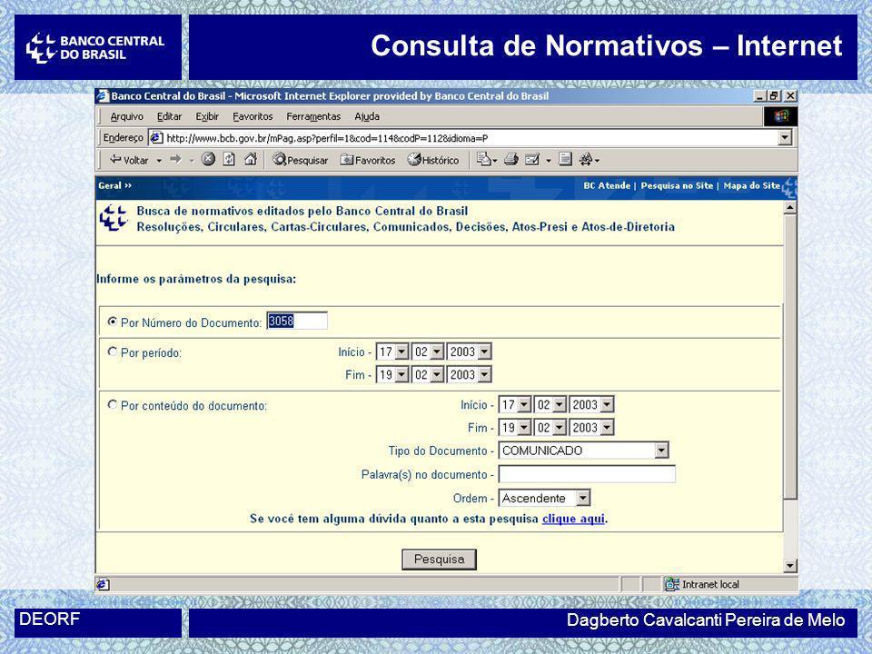 Dagberto Cavalcanti Pereira de Melo DEORF Consulta de Normativos – Internet