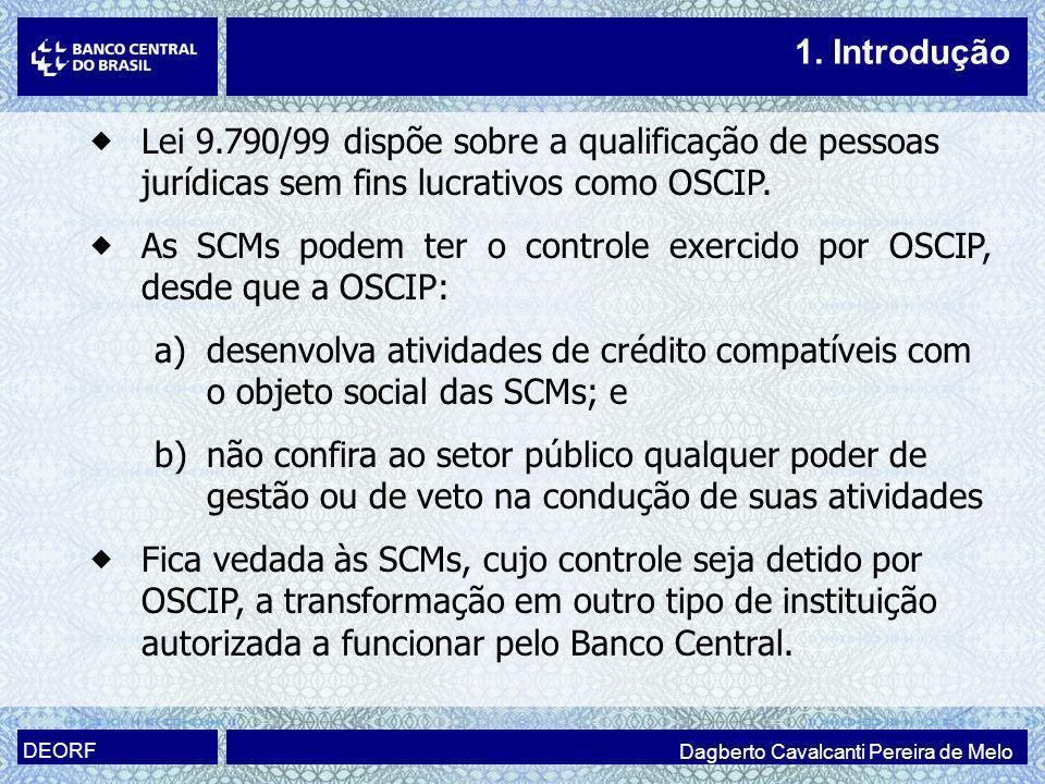 Lei 9.790/99 dispõe sobre a qualificação de pessoas jurídicas sem fins lucrativos como OSCIP. As SCMs podem ter o controle exercido por OSCIP, desde q