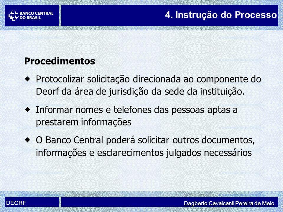 Procedimentos Protocolizar solicitação direcionada ao componente do Deorf da área de jurisdição da sede da instituição. Informar nomes e telefones das
