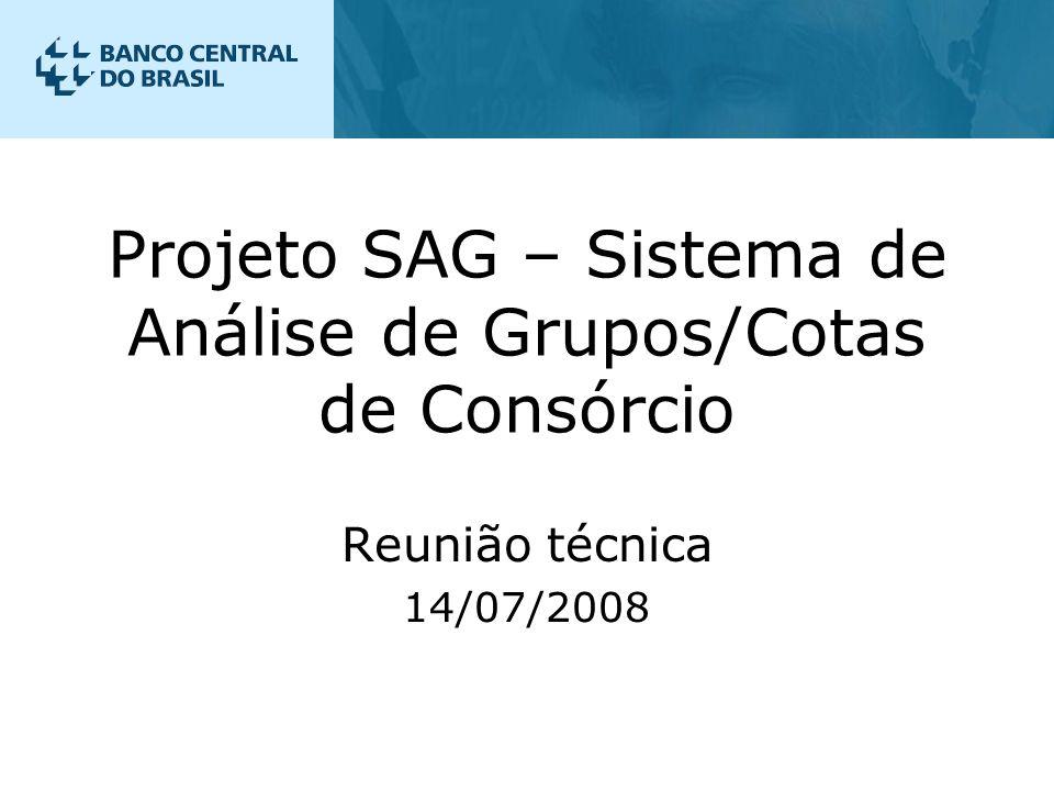 Projeto SAG – Sistema de Análise de Grupos/Cotas de Consórcio Reunião técnica 14/07/2008