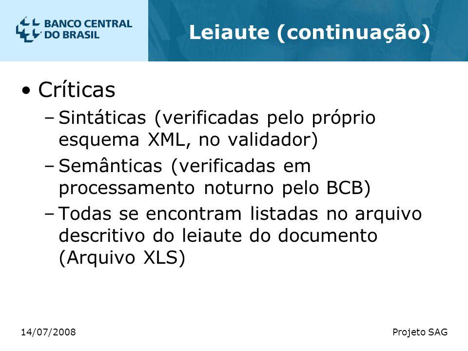 14/07/2008Projeto SAG Leiaute (continuação) Críticas –Sintáticas (verificadas pelo próprio esquema XML, no validador) –Semânticas (verificadas em proc