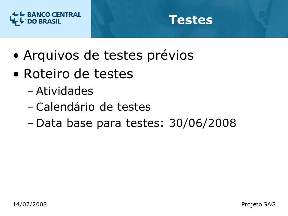 14/07/2008Projeto SAG Testes Arquivos de testes prévios Roteiro de testes –Atividades –Calendário de testes –Data base para testes: 30/06/2008