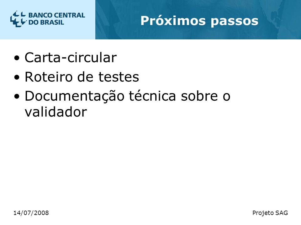 14/07/2008Projeto SAG Próximos passos Carta-circular Roteiro de testes Documentação técnica sobre o validador
