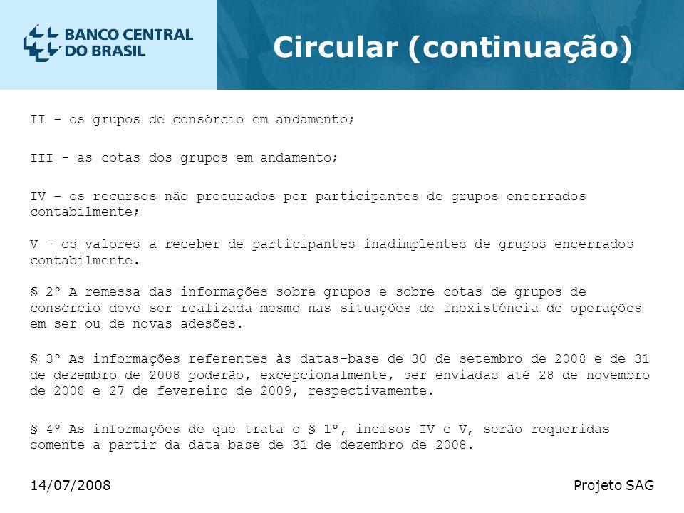 14/07/2008Projeto SAG Circular (continuação) II - os grupos de consórcio em andamento; III - as cotas dos grupos em andamento; IV - os recursos não pr