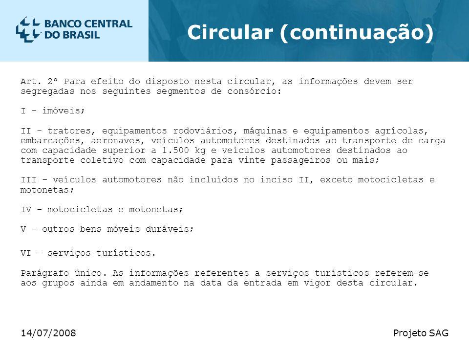 14/07/2008Projeto SAG Circular (continuação) Art. 2º Para efeito do disposto nesta circular, as informações devem ser segregadas nos seguintes segment