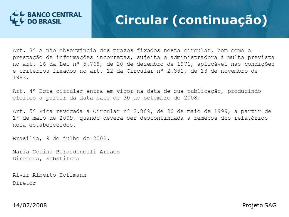 14/07/2008Projeto SAG Circular (continuação) Art. 3º A não observância dos prazos fixados nesta circular, bem como a prestação de informações incorret