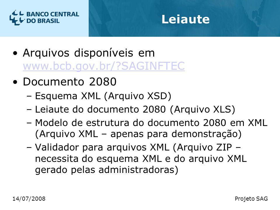14/07/2008Projeto SAG Leiaute Arquivos disponíveis em www.bcb.gov.br/?SAGINFTEC www.bcb.gov.br/?SAGINFTEC Documento 2080 –Esquema XML (Arquivo XSD) –L