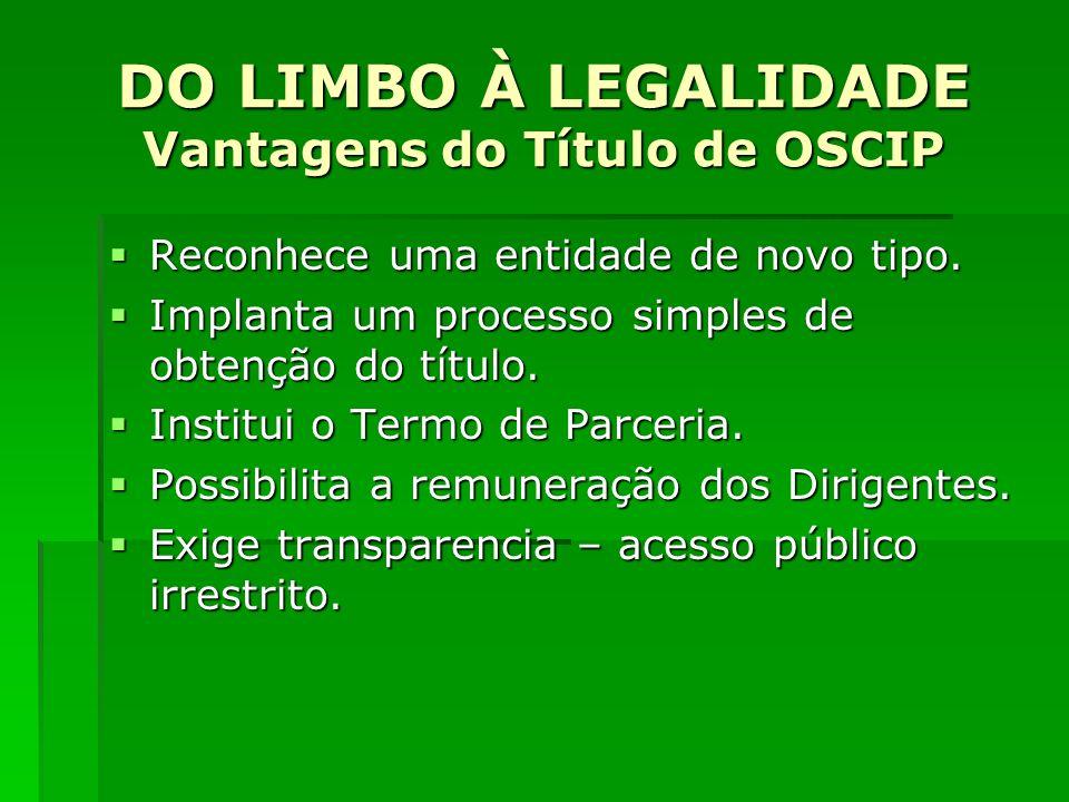 DO LIMBO À LEGALIDADE Vantagens do Título de OSCIP Consagra o microcrédito como uma prática de motivação social.