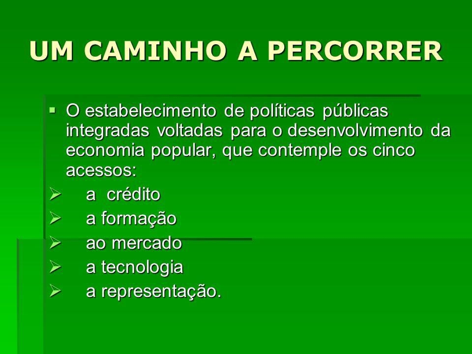 UM CAMINHO A PERCORRER O estabelecimento de políticas públicas integradas voltadas para o desenvolvimento da economia popular, que contemple os cinco