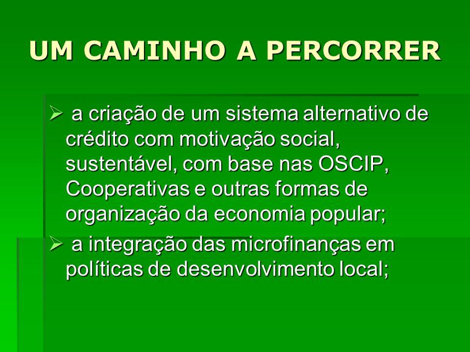 UM CAMINHO A PERCORRER a criação de um sistema alternativo de crédito com motivação social, sustentável, com base nas OSCIP, Cooperativas e outras for