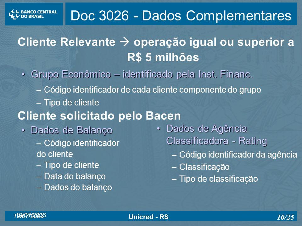 19/07/2003 Unicred - RS 10/25 Doc 3026 - Dados Complementares Cliente Relevante operação igual ou superior a R$ 5 milhões Grupo Econômico – identifica