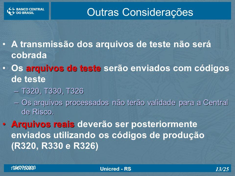 19/07/2003 Unicred - RS 13/25 Outras Considerações A transmissão dos arquivos de teste não será cobrada arquivos de testeOs arquivos de teste serão en