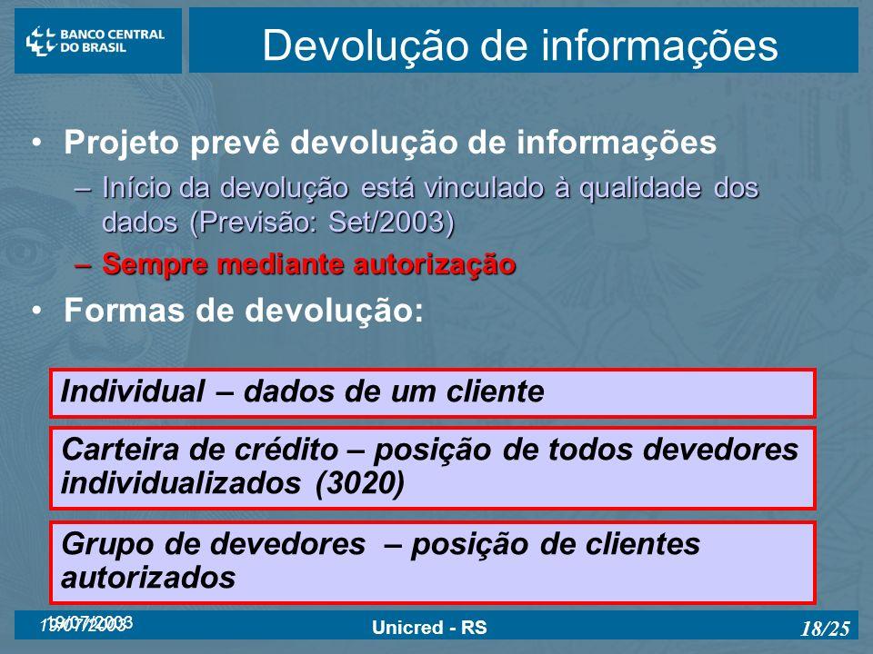 19/07/2003 Unicred - RS 18/25 Devolução de informações Projeto prevê devolução de informações –Início da devolução está vinculado à qualidade dos dado