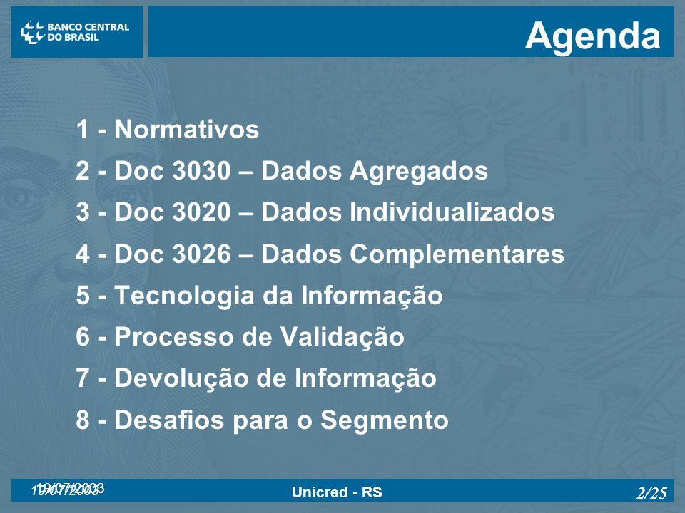 19/07/2003 Unicred - RS 2/25 Agenda 1 - Normativos 2 - Doc 3030 – Dados Agregados 3 - Doc 3020 – Dados Individualizados 4 - Doc 3026 – Dados Complemen