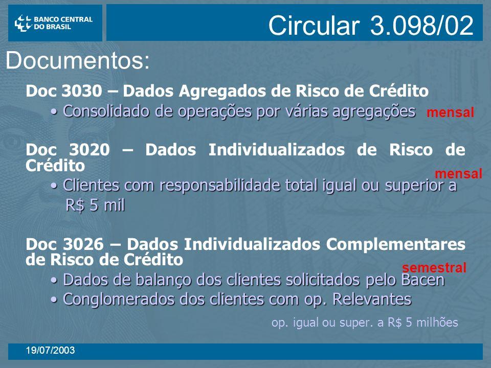 19/07/2003 Doc 3030 – Dados Agregados de Risco de Crédito Consolidado de operações por várias agregações Consolidado de operações por várias agregaçõe