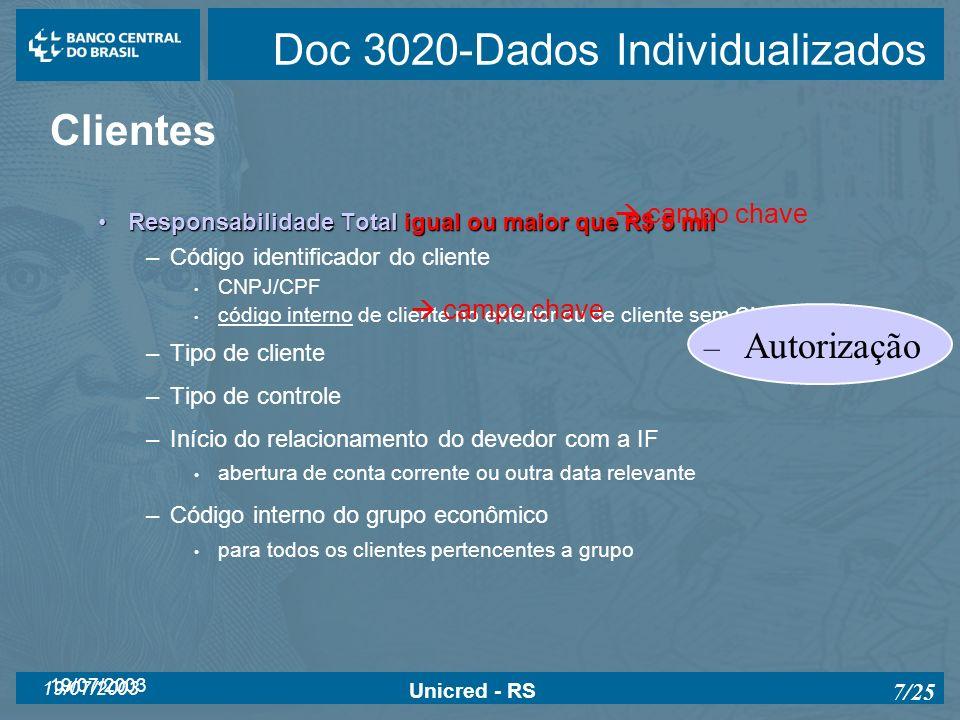 19/07/2003 Unicred - RS 7/25 Doc 3020-Dados Individualizados Clientes Responsabilidade Total igual ou maior que R$ 5 milResponsabilidade Total igual o