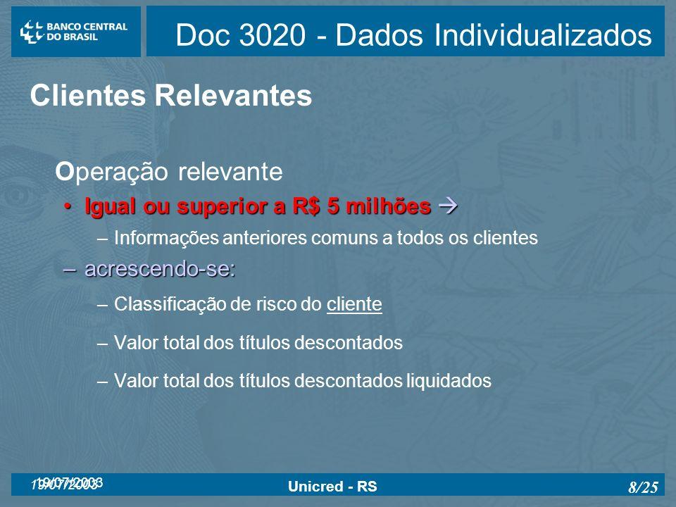 19/07/2003 Unicred - RS 8/25 Doc 3020 - Dados Individualizados Clientes Relevantes Operação relevante Igual ou superior a R$ 5 milhõesIgual ou superio