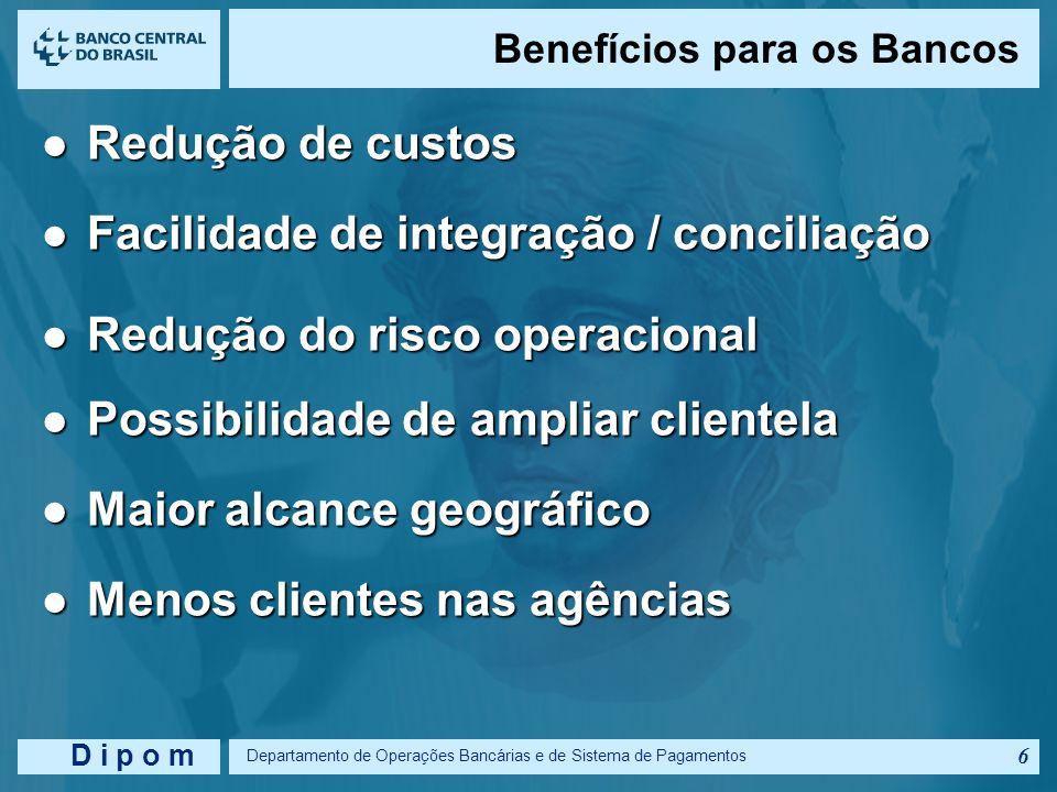 D i p o m Departamento de Operações Bancárias e de Sistema de Pagamentos 5 Padronização Padronização Integração de redes Integração de redes Cheque: T