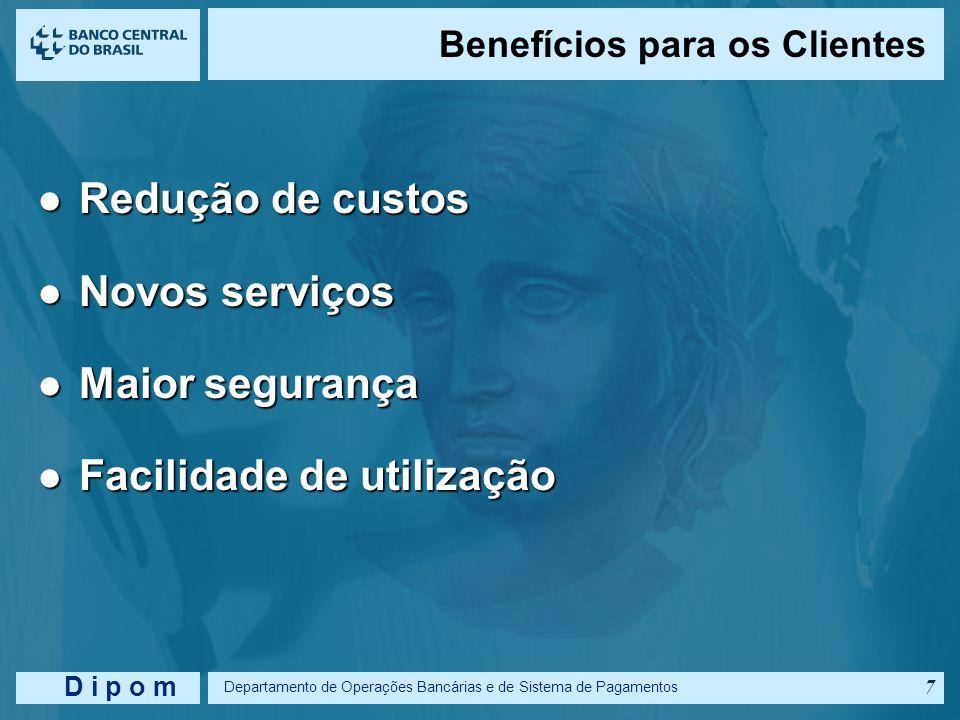 D i p o m Departamento de Operações Bancárias e de Sistema de Pagamentos 6 Benefícios para os Bancos Redução de custos Redução de custos Facilidade de