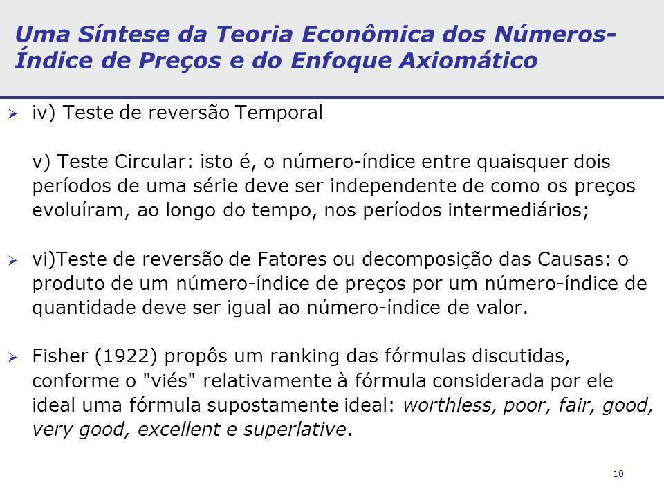 10 Uma Síntese da Teoria Econômica dos Números- Índice de Preços e do Enfoque Axiomático iv) Teste de reversão Temporal v) Teste Circular: isto é, o n