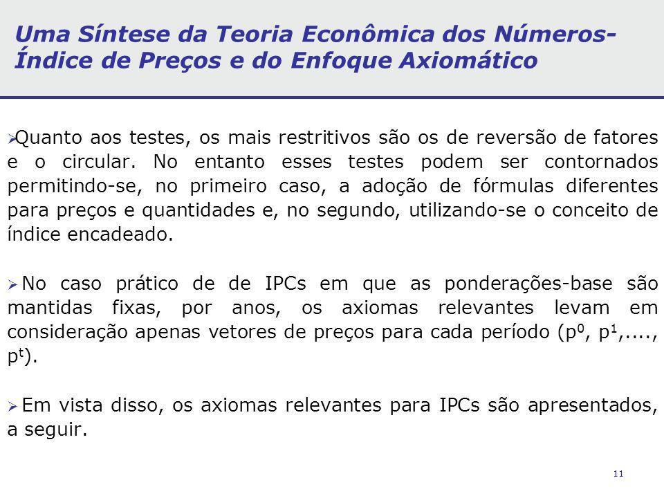 11 Uma Síntese da Teoria Econômica dos Números- Índice de Preços e do Enfoque Axiomático Quanto aos testes, os mais restritivos são os de reversão de fatores e o circular.