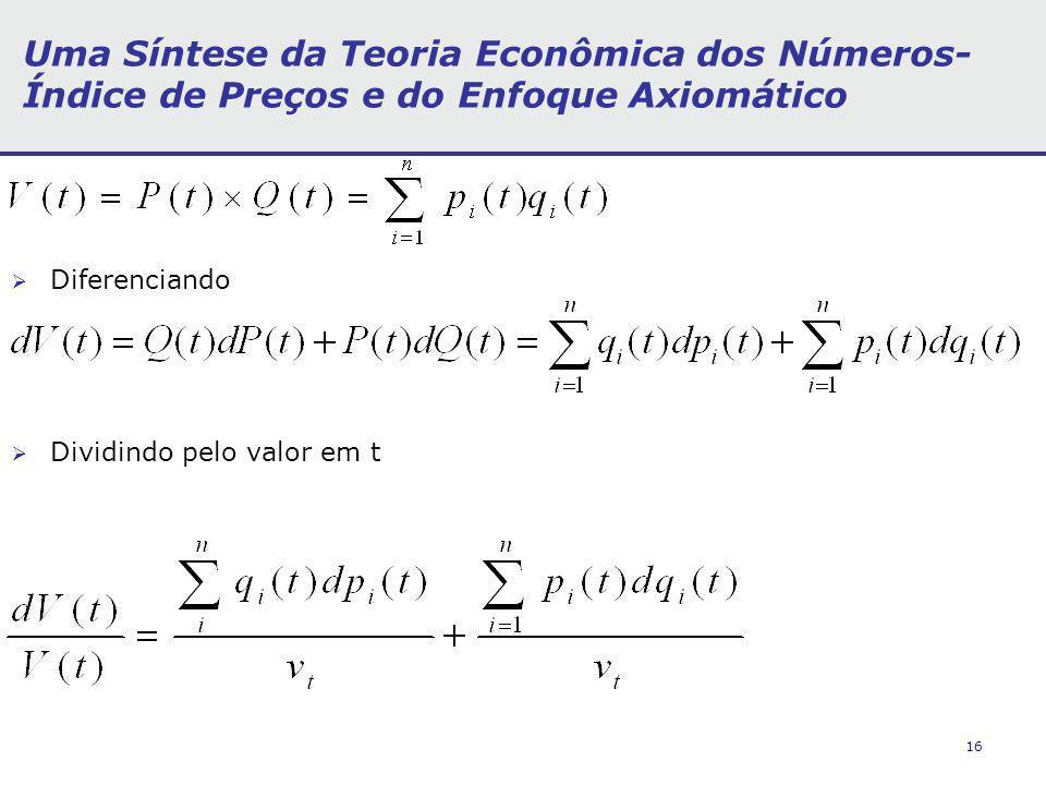 16 Uma Síntese da Teoria Econômica dos Números- Índice de Preços e do Enfoque Axiomático Diferenciando Dividindo pelo valor em t